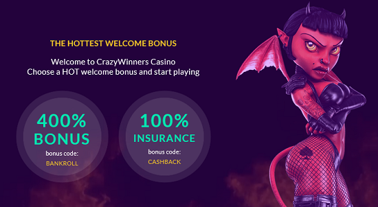 Bonus de bienvenue casino en ligne Crazy Winners